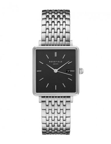 Reloj Rosefield The Boxy negro-plata
