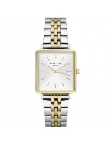 Reloj Rosefield The Boxy blanco bicolor